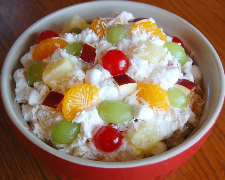 Lovely ambrosia fruit salad - what a perfect dessert!