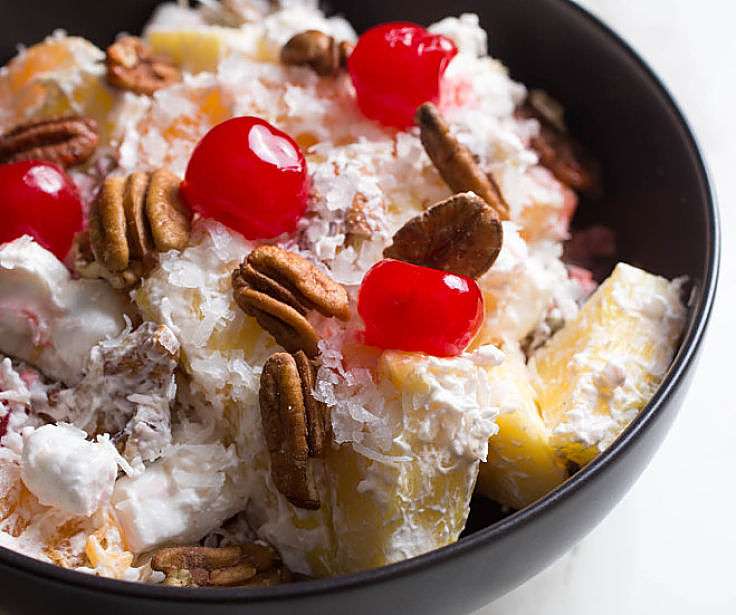 Ambrosia Fruit Salad with pecand and cherries