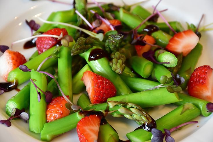 Steamed and chilled asparagus is a delightful ingredients for salads and stir fries