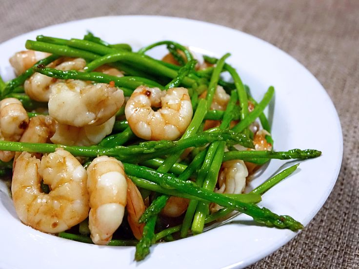 Asparagus pairs well with prawns and other seafood - the texture compliments the softness of seafood and it adds fiber and nutrients