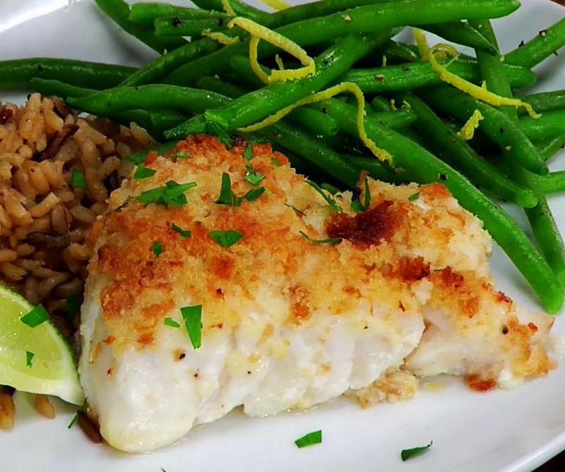 Serve baked fish with simple steamed or boiled vegetables