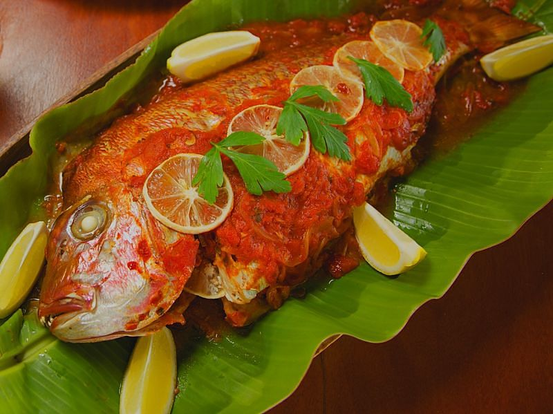 Delicious baked whole fish