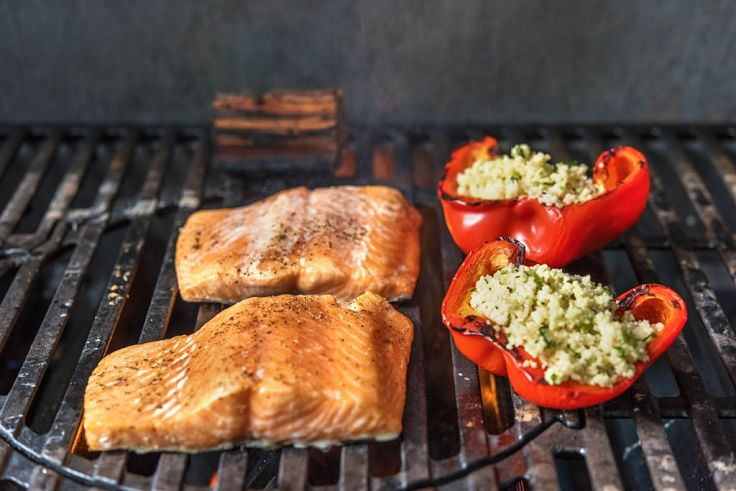 Fish and vegetables are delicious when cooked on barbecues