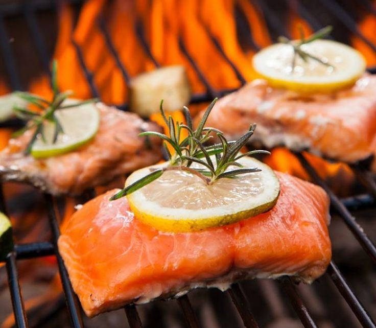 Firm fleshed fish such as this piece of salmon cook very well on barbecues. Learn how here.
