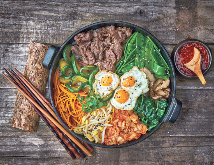 Delightful bibimbap is made with an array of healthy whole food ingredients
