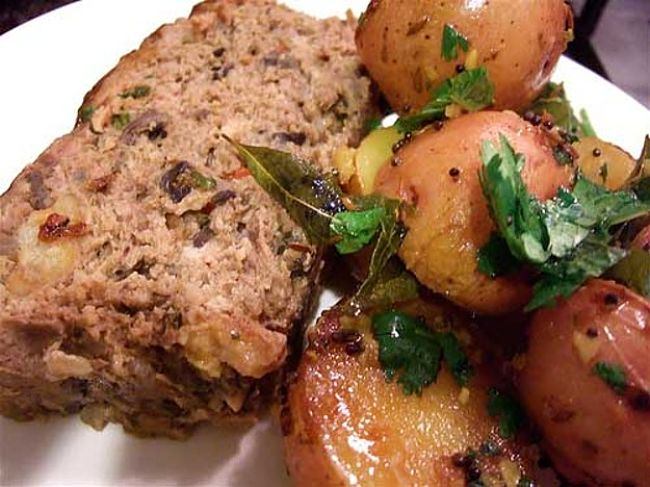 Tamarind-Glazed Meatloaf with roast potatoes