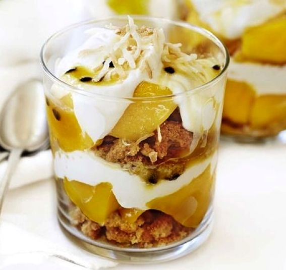 Mango and passion fruit crunch breakfast trifle - Learn how to make it here