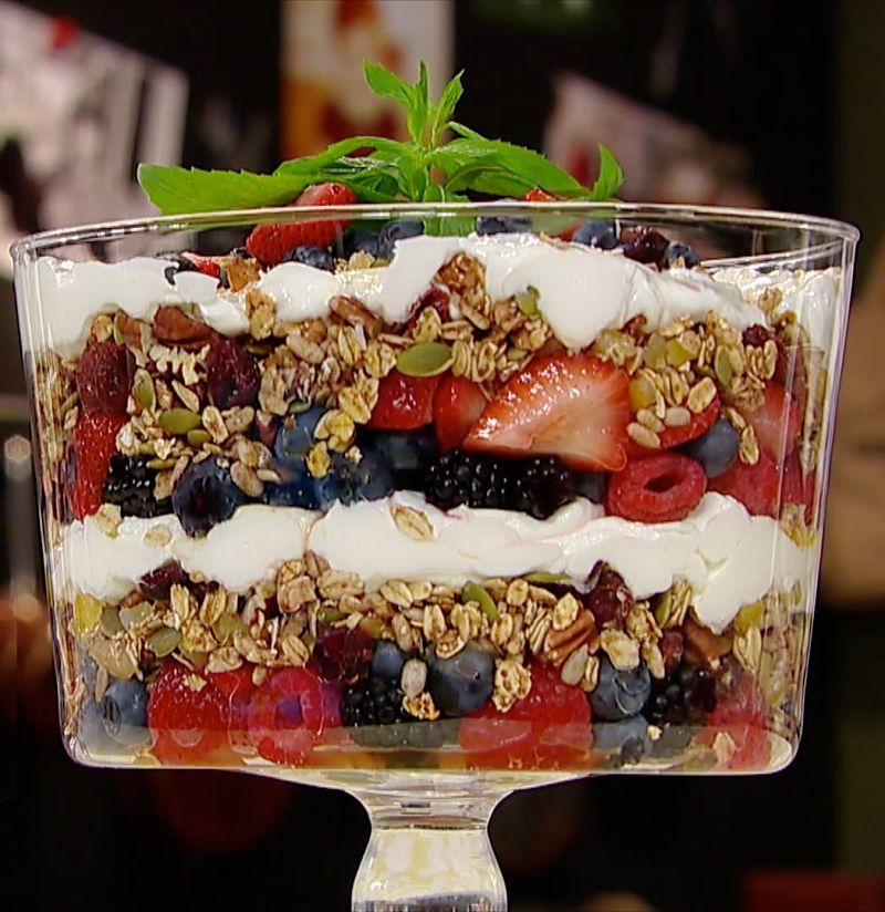 The art for a breakfast trifle lies in the layering which is accentuated in a clear glass bowl.