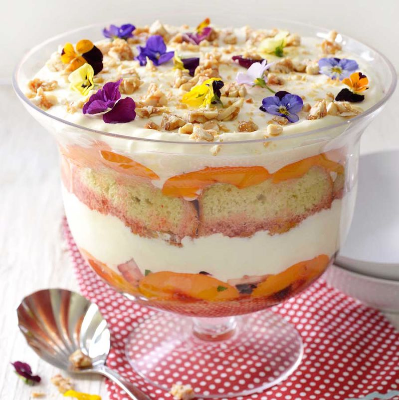 Add flowers, fresh herbs and other adornments to make your breakfast trifle look so appealing