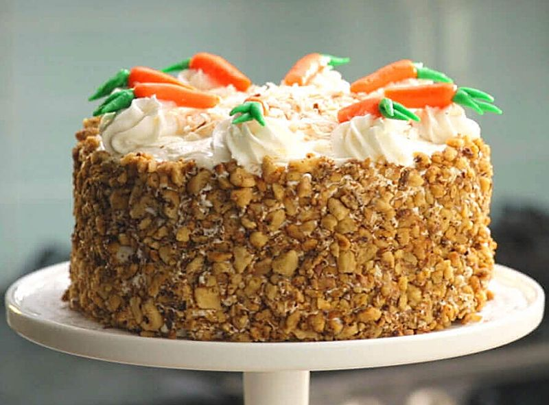 Iced carrot cake with nuts pressed into the sides - absolutely magnificient!