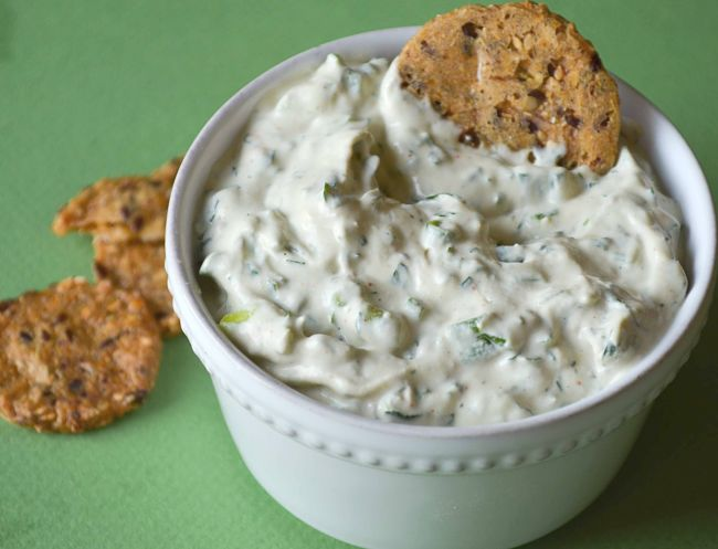 Herbed cashew cheese makes a delightful dip as a party food or a delicious snack.