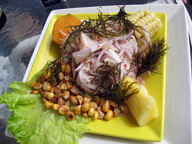The side dishes that accompany a Ceviche dish are important for offsetting the acidity of the fish or seafood.