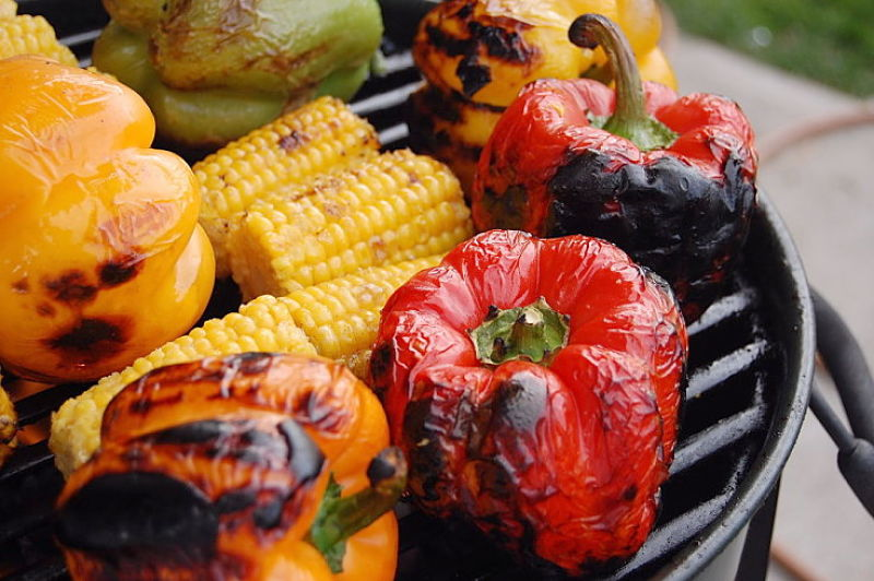 Bell peppers and corn grilled to perfection on the barbecue