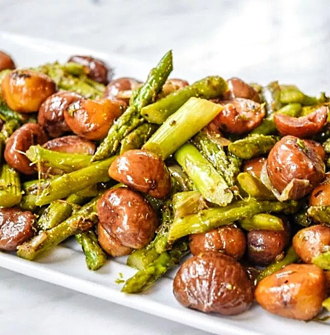 Easy Asparagus with Roasted Chestnuts