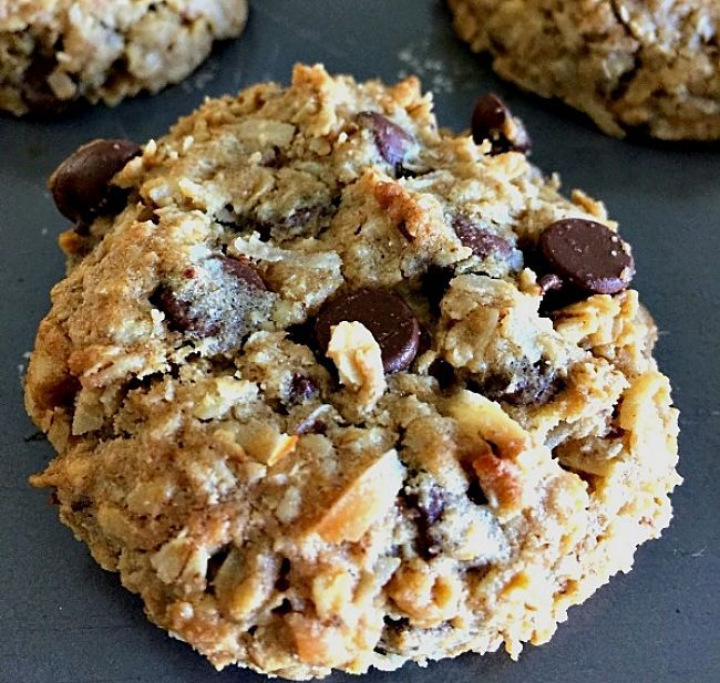 Oatmeal cookies loaded with nice bits - see more recipes here
