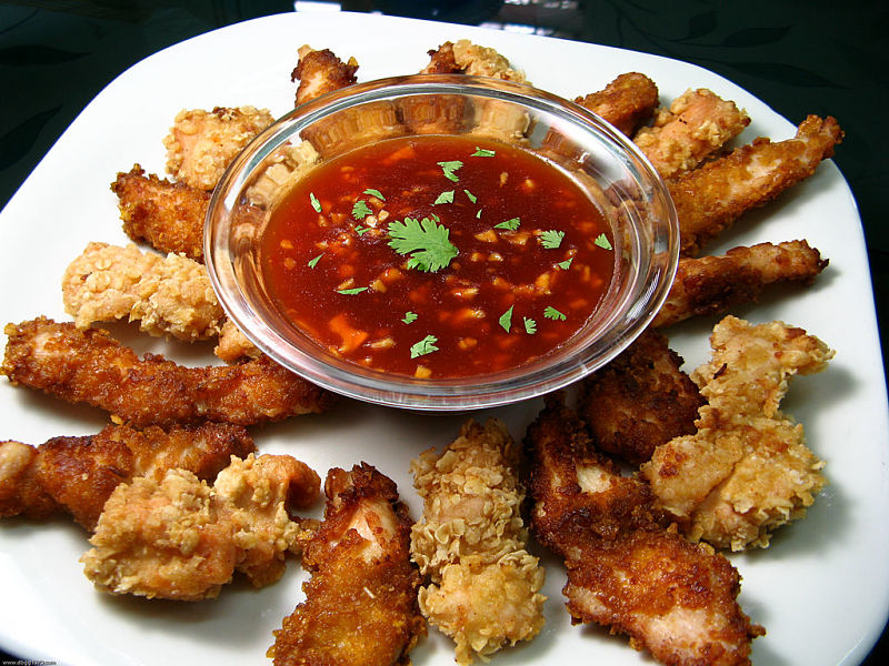 Perfect party food - chicken strips perfectly cooked with a delightful sauce for dipping.