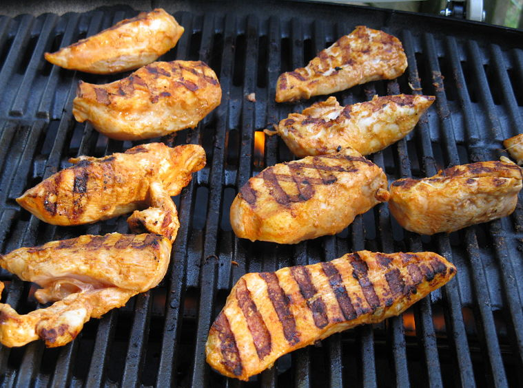 Barbecued marinated chicken strips are so nice and versatile as a side dish for various barabecue meals.