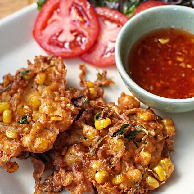 Delicious Homemade Corn Fritters with fresh baked tomato salsa