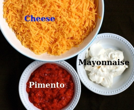 The three simple ingredients for Pimento Cheese - but the devil is in the detail. Which cheese? The best mayonnaise to use. The pimentos and choice of spices.