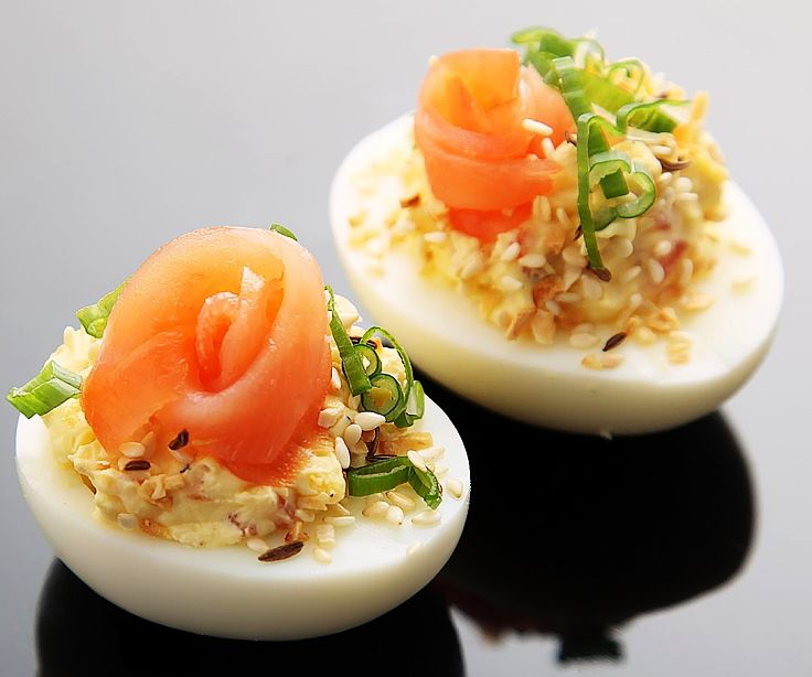 Deviled eggs with salmon and crushed almonds is one of many fabulous recipes in this article
