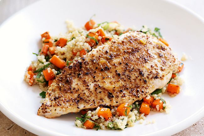 Dukkah chicken with quinoa salad - see more fabulous recipes in this article