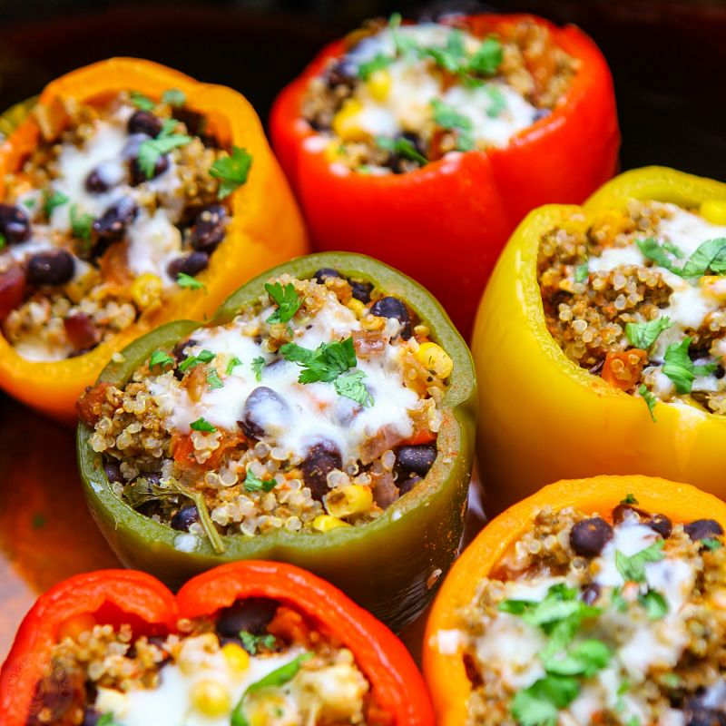 Cook-Once Eat-Twice Stuffed Peppers are an ideal choice as they refrigerate well and retain their shape and texture.