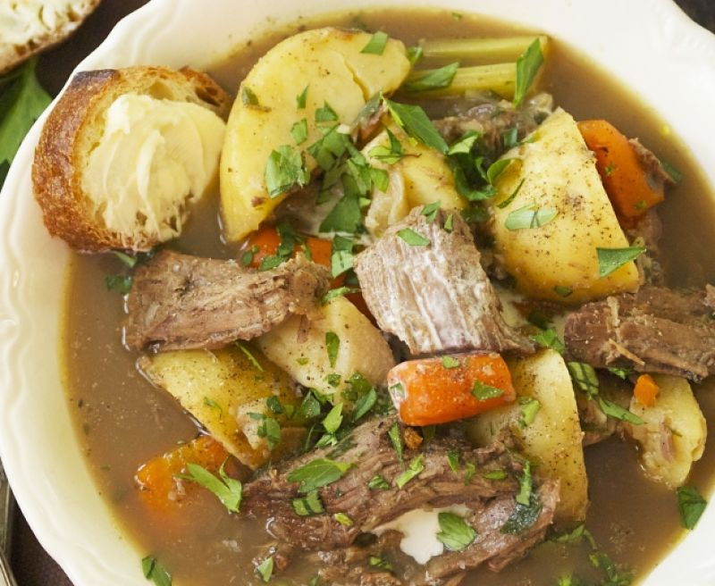 Hearty beef and vegetables soup is a great cook-once, eat-twice dish which improves with keeping. You can add fresh herbs and leafy vegetables to add intrigue and flavor