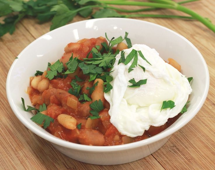 Home cooked baked beans are great for breakfast with poached eggs and fresh toast