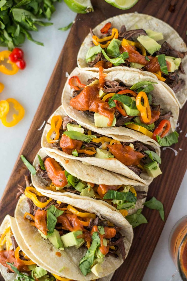 Slow cooker beef fajita tacos with mango sauce - a delightful way to highlight the wonderful uses of Fajita spice mix as a rub and marinade for beef pork and chicken and also for vegetables
