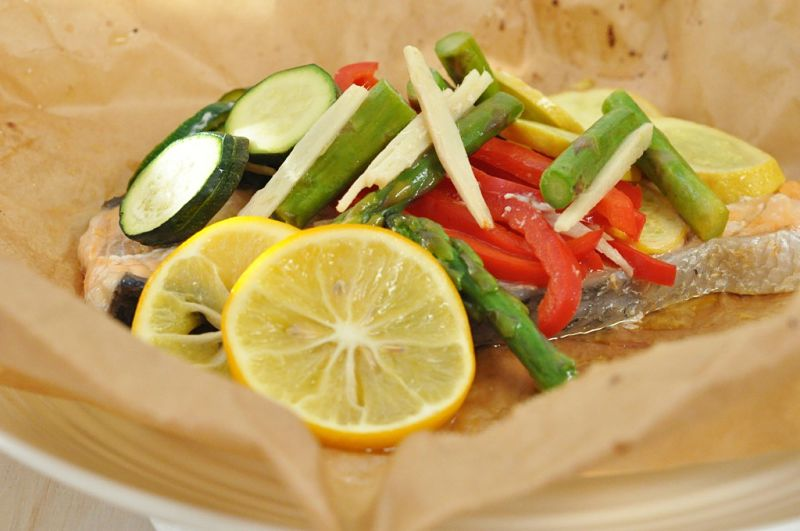 All the delicate tastes and textures of fish and vegetables are retained when cooked in parchment paper