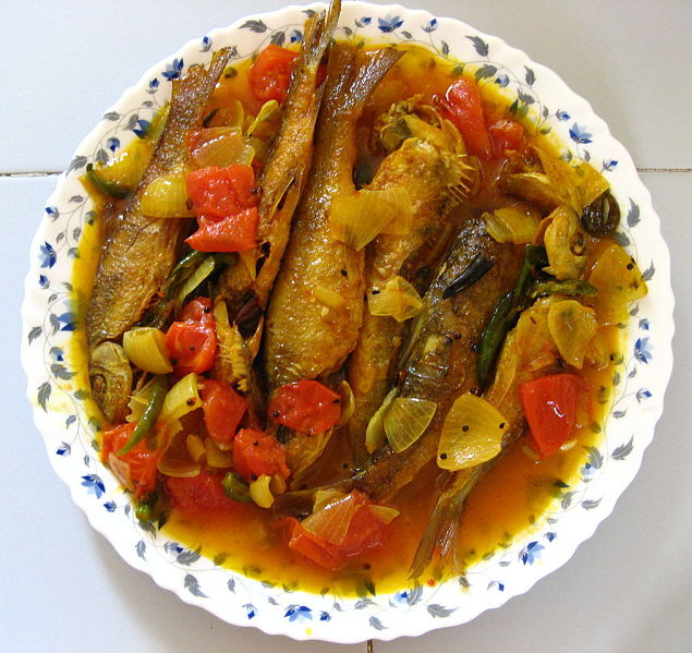 Fish curries can include fried fish that is added to the curry at the last minute