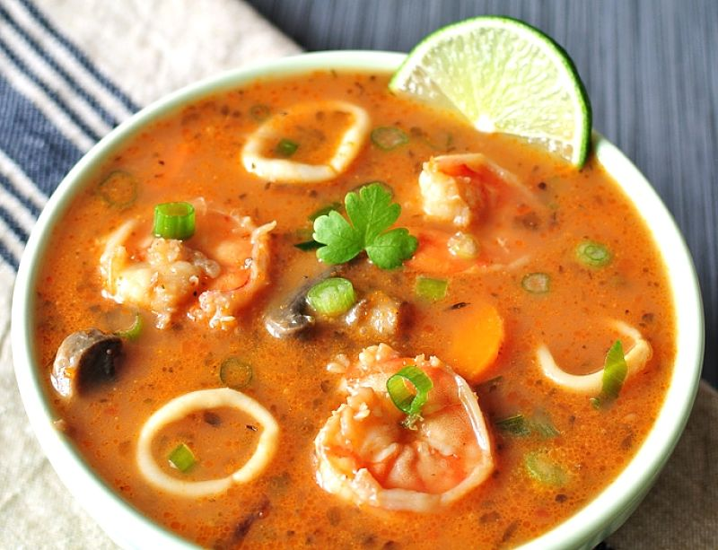 Paleo Style Seafood Soup with Tomato and Lime