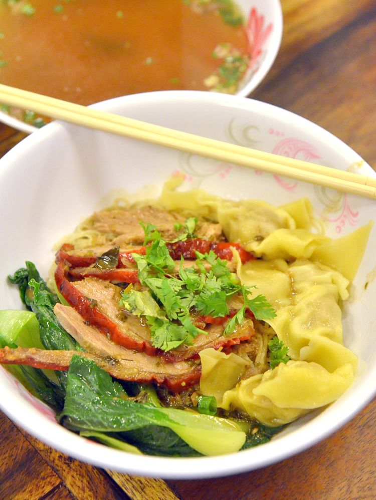 Five treasure duck can be served with steamed won tons. See the recipe here.
