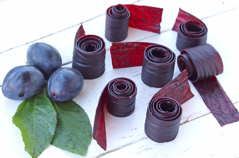 Homemade grape anf blueberry fruit leather