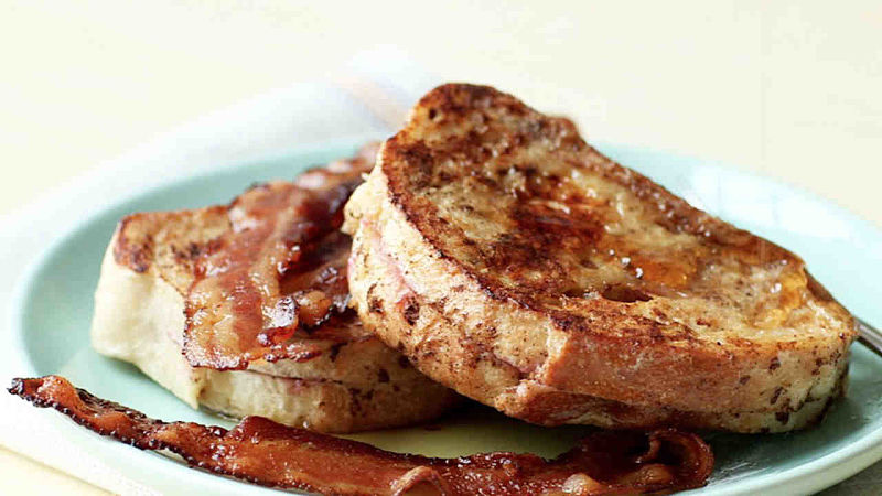 Apricot-Stuffed French Toast served with bacon