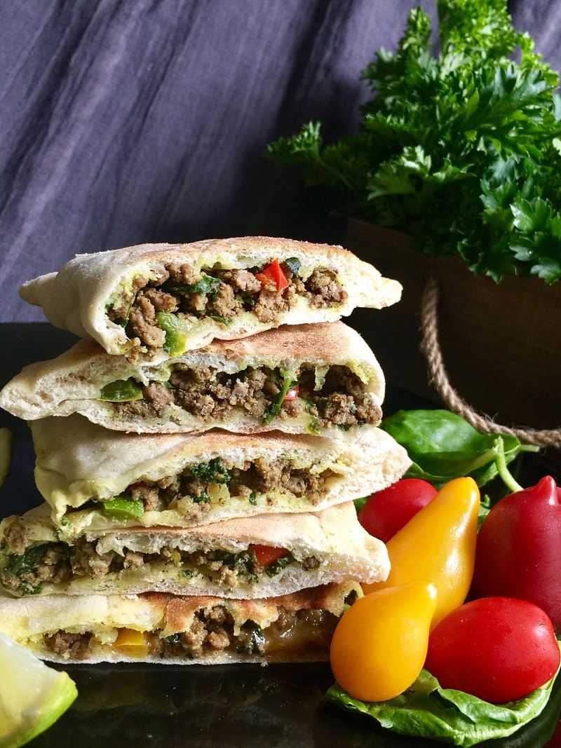 Meat and vegetable fillings are very popular in Turkish Gozleme filled flat bread