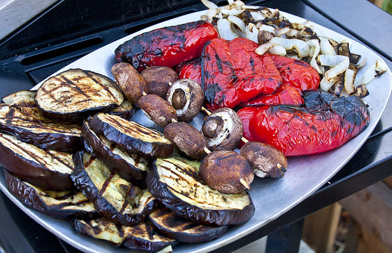 A platter of grilled or barbecued vegetables is a wonderful addition to grilled or roasted beef or other meat