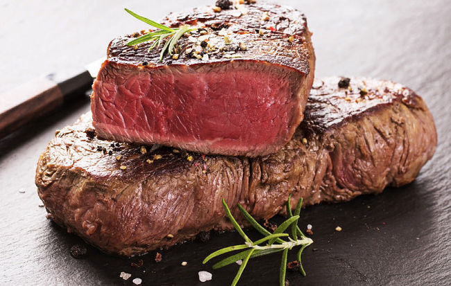 Lovely steak - evenly cooked to perfection.