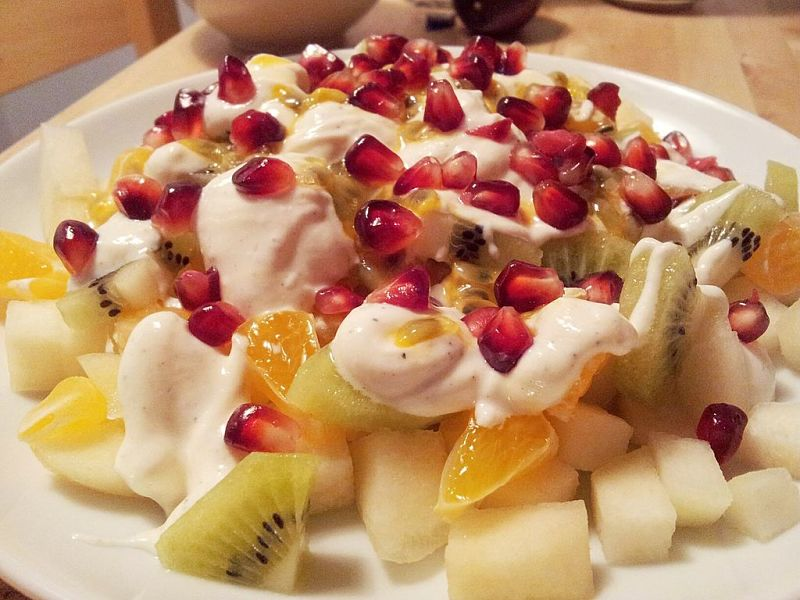Fruit salad and fresh yogurt - A wonderful combination