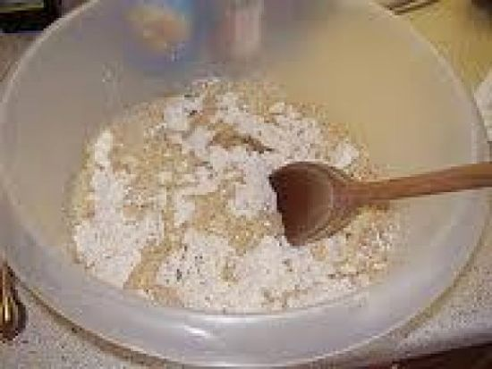Making the dough for homemade pizza using wholesome ingredients