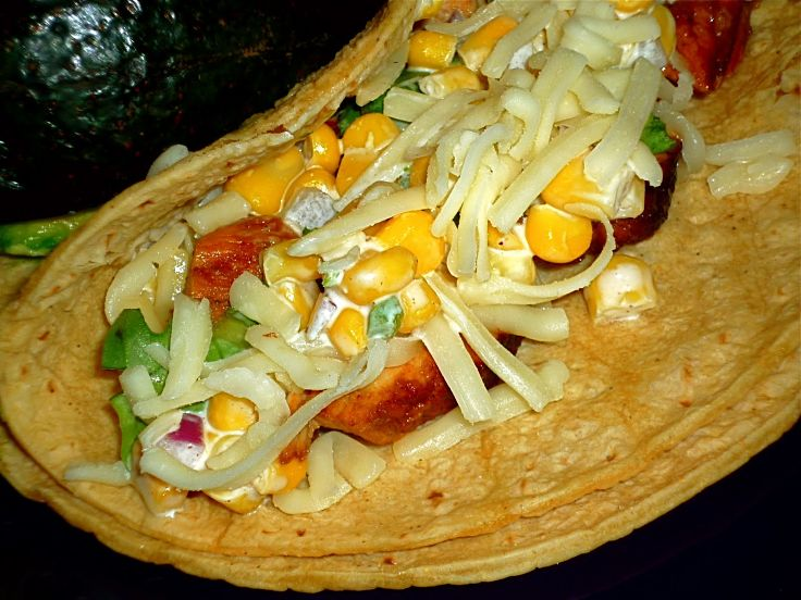 Mesquite Chicken Tacos with Creamy Corn Salsa - see other great recipes here