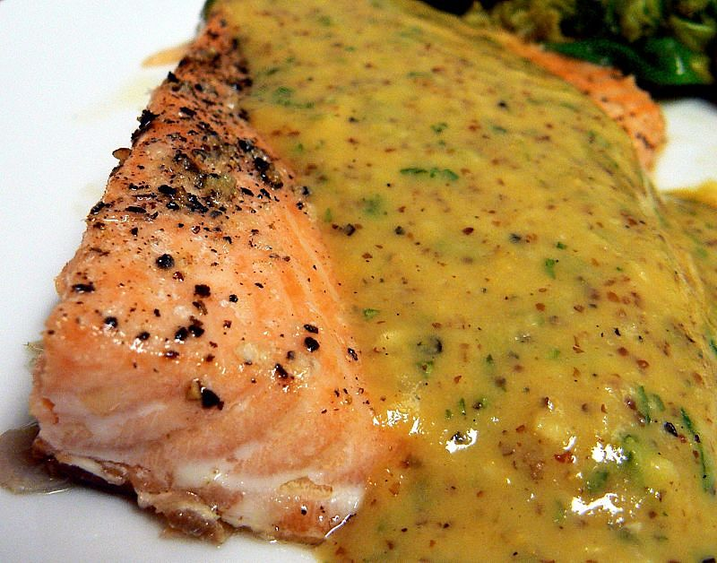 Salmon with honey mustard sauces is healthy - see the nutrition chart