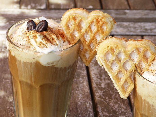 Wafers add a delightful touch to these cold iced coffee drinks made at home with these recipes