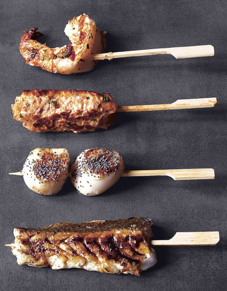 Mixed seafood Yakitori are great for parties and special dinners with friends