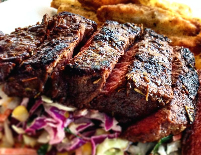 Jerk flank steak is a delight when barbecued, grilled or roasted.