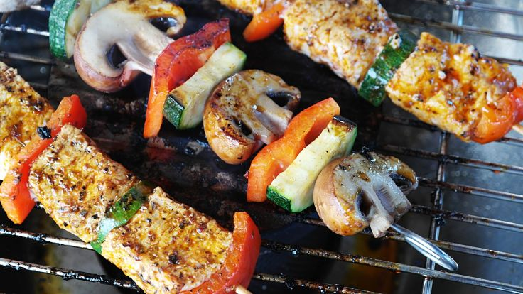 A fabulous healthy homemade ketchup is essential for grilled and barbecue dishes such as these meat and vegetable kebabs