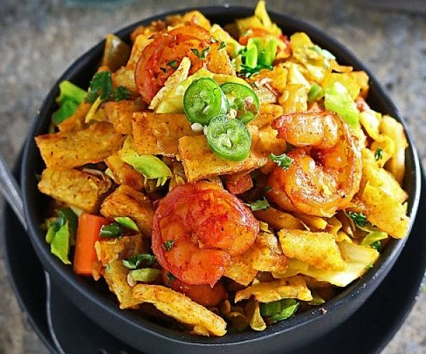 Shrimp and other seafood can be added to a spicy, vegetable Kottu Roti to make a wonderful meal or party food