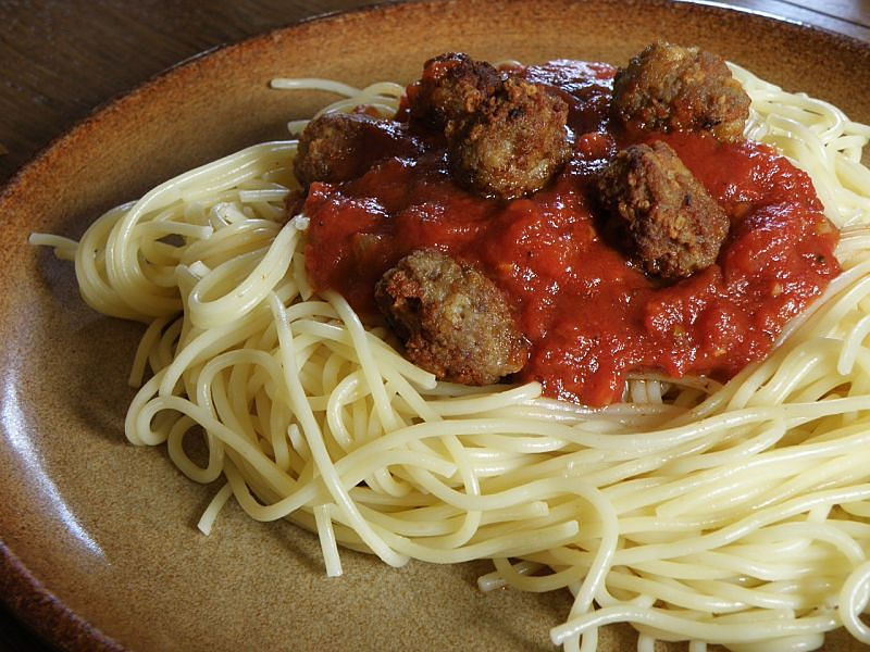 The classic spaghetti and meatballs is so much nicer with homemade meatballs