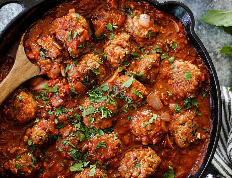 Hearty meatballs in a homemade tomato sauce.