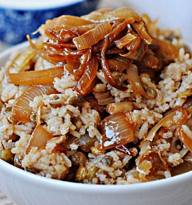 Mujadara is a delight at any time and is very healthy especially when made with brown rice.